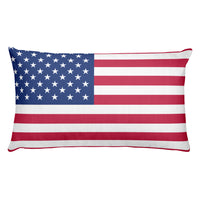 Red white and blue American flag 20x12 rectangular pillow