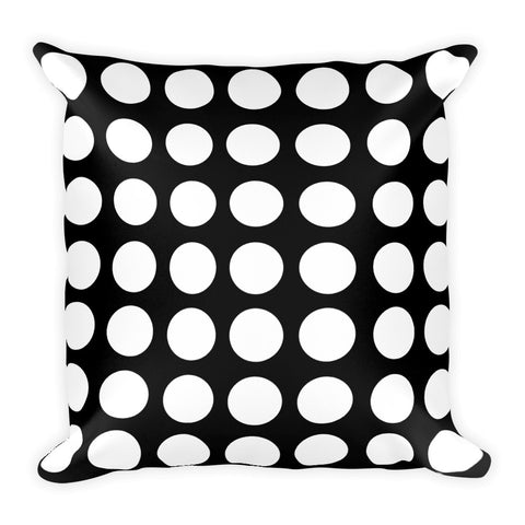 Black and White Square Polka Dot Pillow