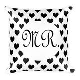 Mr black and white square throw pillow for the groom