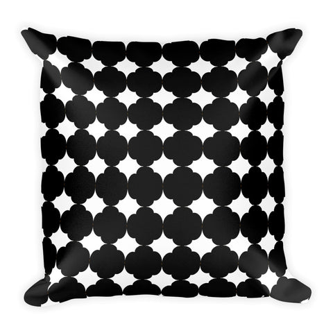 Black and white square 18x18 inch accent throw pillow