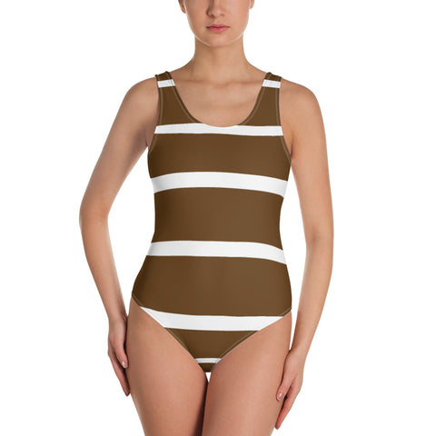 Brown stripe one-piece swimsuit
