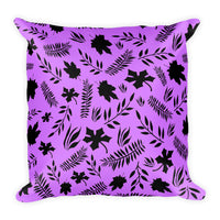 Purple leaves 18x18 inch square accent throw pillow