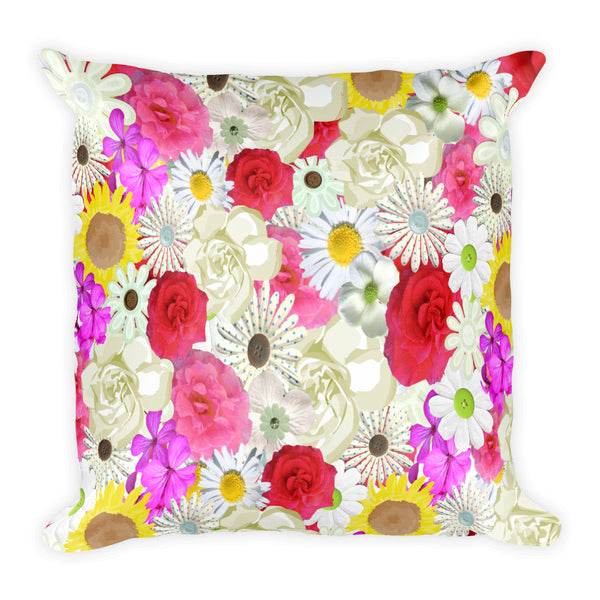 Floral 18x18 square throw pillow