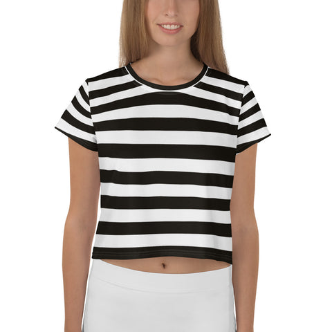 Black and white striped crop tee