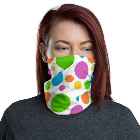 Multi-color circle face mask neck gaiter
