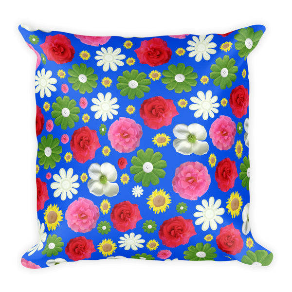 Blue with flowers 18x18 inch square throw pillow