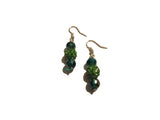 Green Beaded Dangle Earrings- One Of A Kind