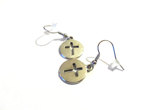 Small silver cross dangle earrings