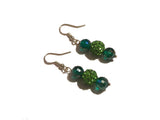 Green Shamballa Earrings