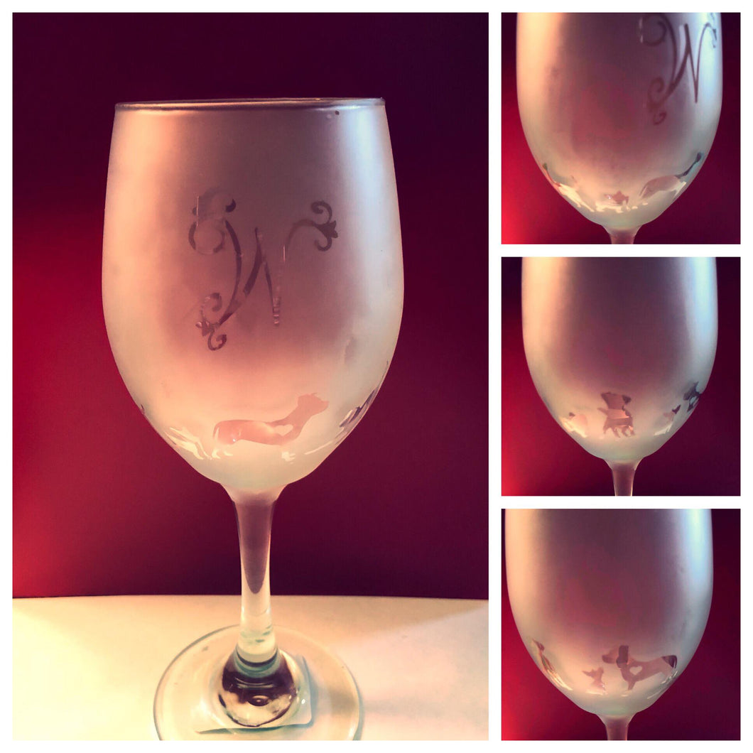 Monogrammed Wine Glasses-Etched Dog - Izzy Marie's