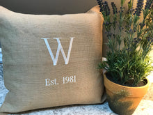 Monogrammed Burlap Accent Pillow