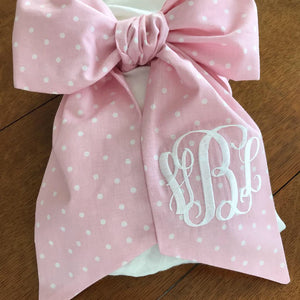 Baby Swaddle Bow Pink Dixie Dot