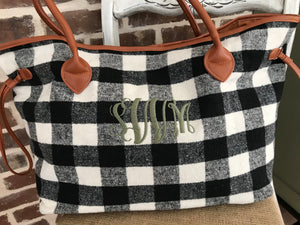Buffalo Check Flannel Tote/Weekender