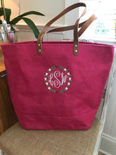 Jute Tote with Floral Ring Monogram