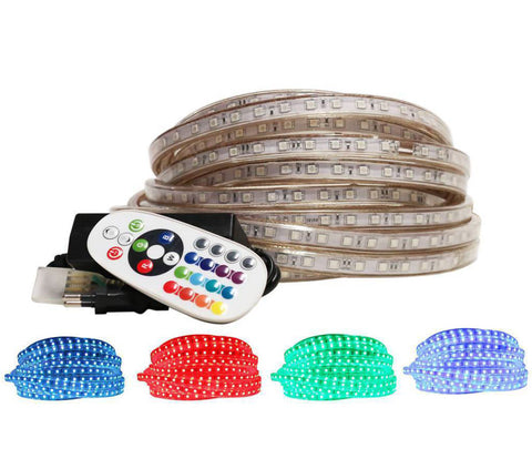 220V RGB LED Strip Light With Power Supply, Remote & End Caps, 5 Metres