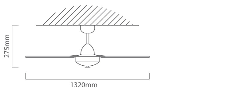 EUROLUX 2 Blade BMT Spinner Ceiling Fan With Industrial Motor, 52 Inch, Satin Chrome/ Clear Acrylic