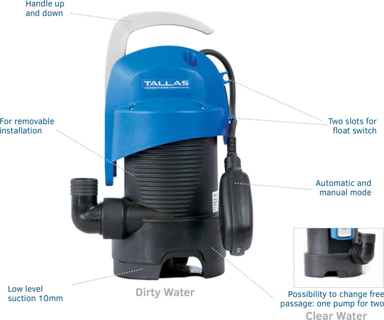 tallas submersible drainage pump features