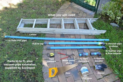 How to install the EcoDepot Tank Cleaner System parts needed and supplied