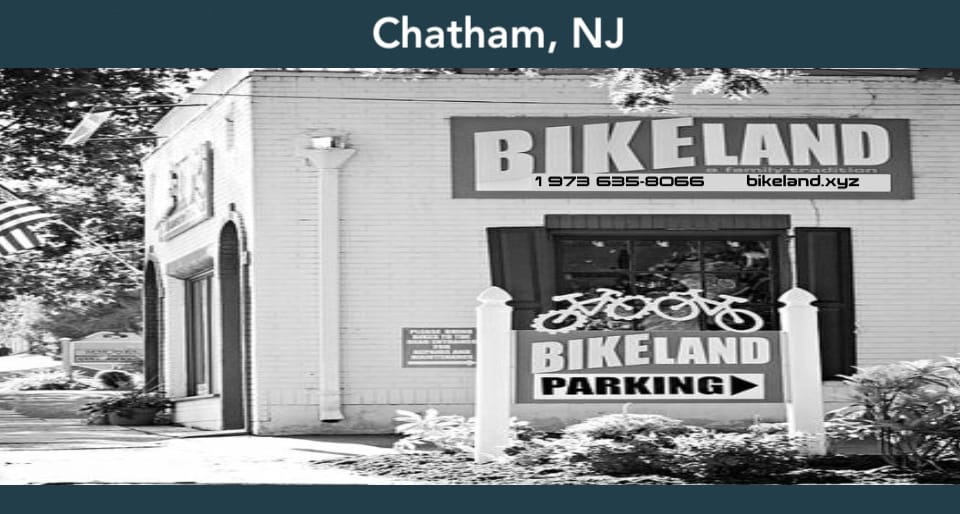 Front exterior picture of Bikland's bike shop in Chatham, NJ