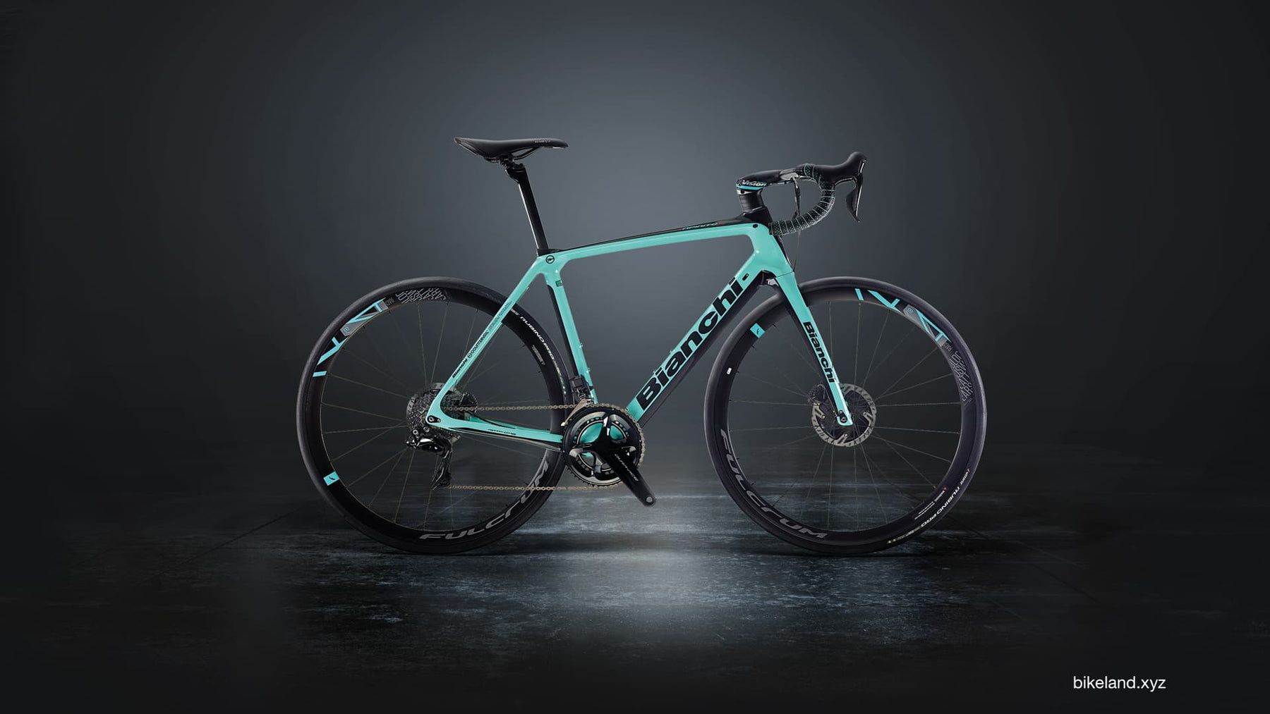 A beautiful picture of a Bianchi celeste color carbon fiber road bike.