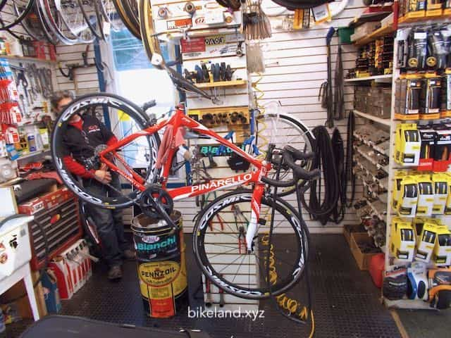 A picture of a Bike being repair at a Bikeland