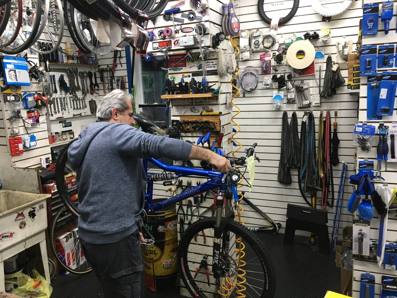 A picture of a Bike being repair at Bikeland