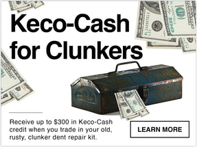 Keco cash for clunkers. Receive up to 300 dollars in keco cash credit when you trade in your old, rusty, clunker dent repair kit