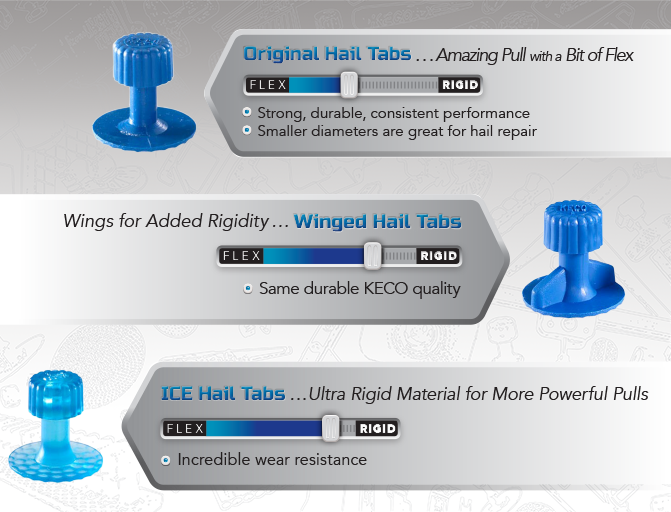 Keco 17 x 35 mm Blue Dimpled Cease Hail Tab (5 Pack)