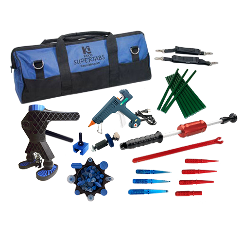 Super Tab Starter Kit with Robo Lifter, slide hammer, glue gun, tab caddy, adapters and knockdown kit.