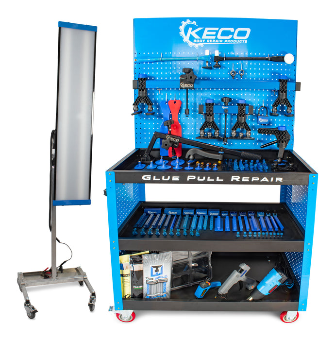 Keco Level 2 Glue Pull Collision Manager Kit with Shop Light and Cart - 110 V