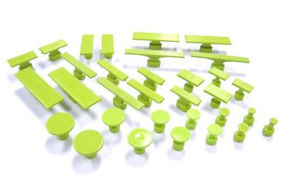 Gang Green Variety Pack Smooth Glue Tabs - All Size, No Ovals (32 Pieces) (GSSVP32)
