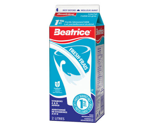 BEATRICE 1% PARTLY SKIMMED MILK - شیر  پاستوریزه