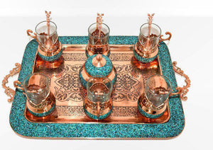 Tea Set Hand Made with Copper & Turquoise gemstone