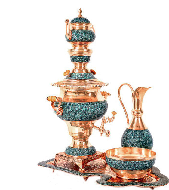 Samovar Tea Hand Made with Copper & Turquoise gemstone