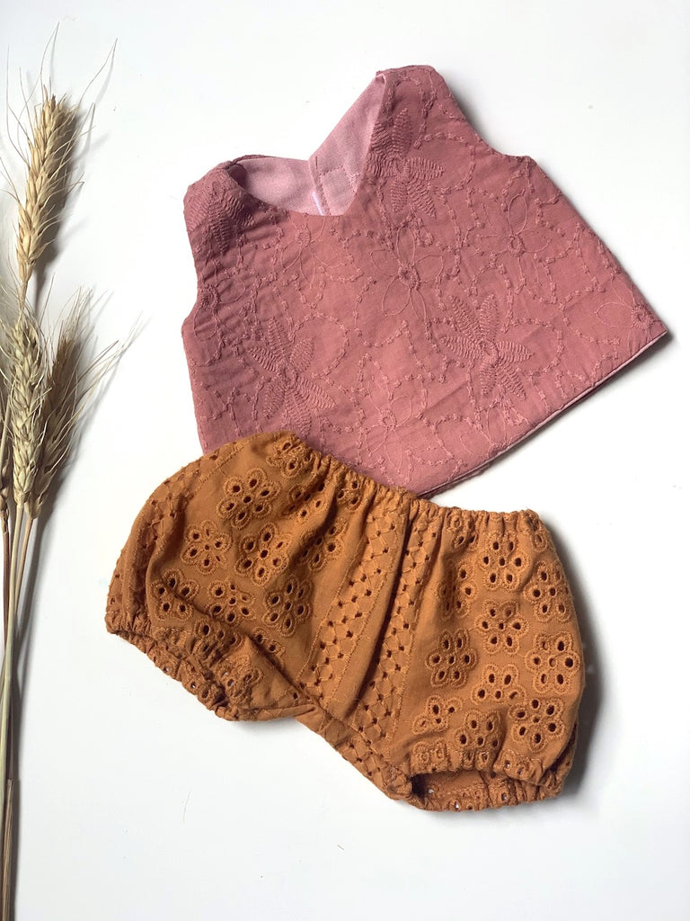 Dusty Rose Top & Mustard Bloomer Set - (to fit 38cm) - Pretty Snippets Kids Toys & Accessories