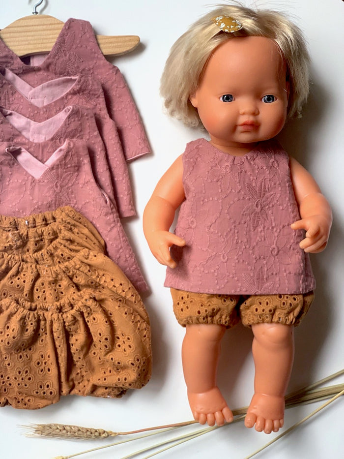 Dusty Rose Top & Mustard Bloomer Set - (to fit 38cm)