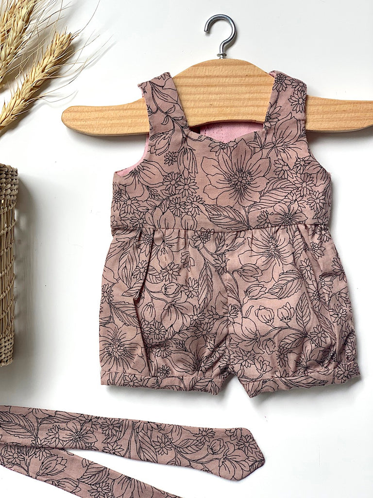 Dusty Rose Playsuit & Headband Set - (to fit 38cm) - Pretty Snippets Kids Toys & Accessories