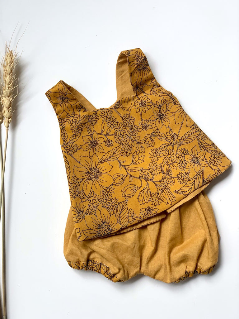 Butterscotch Floral Top & Bloomer Set - (to fit 38cm)