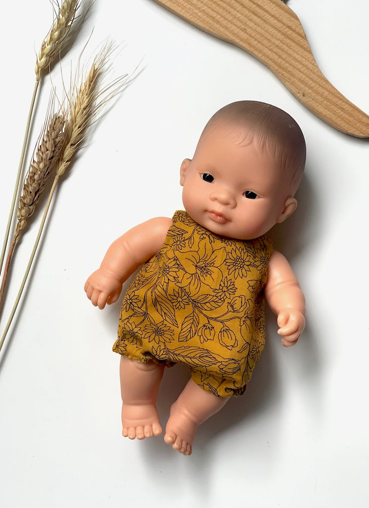 Butterscotch Floral Romper - (to fit 21cm) - Pretty Snippets Kids Toys & Accessories