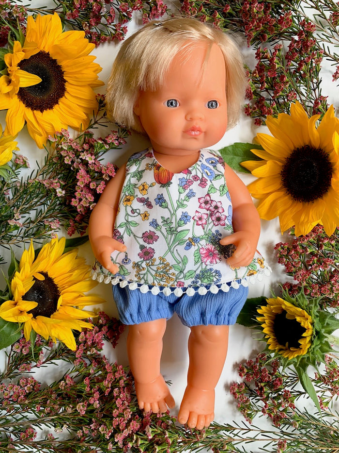 Summer Garden Top & Sky Blue Bloomer Set - (to fit 38cm) - Pretty Snippets Kids Toys & Accessories
