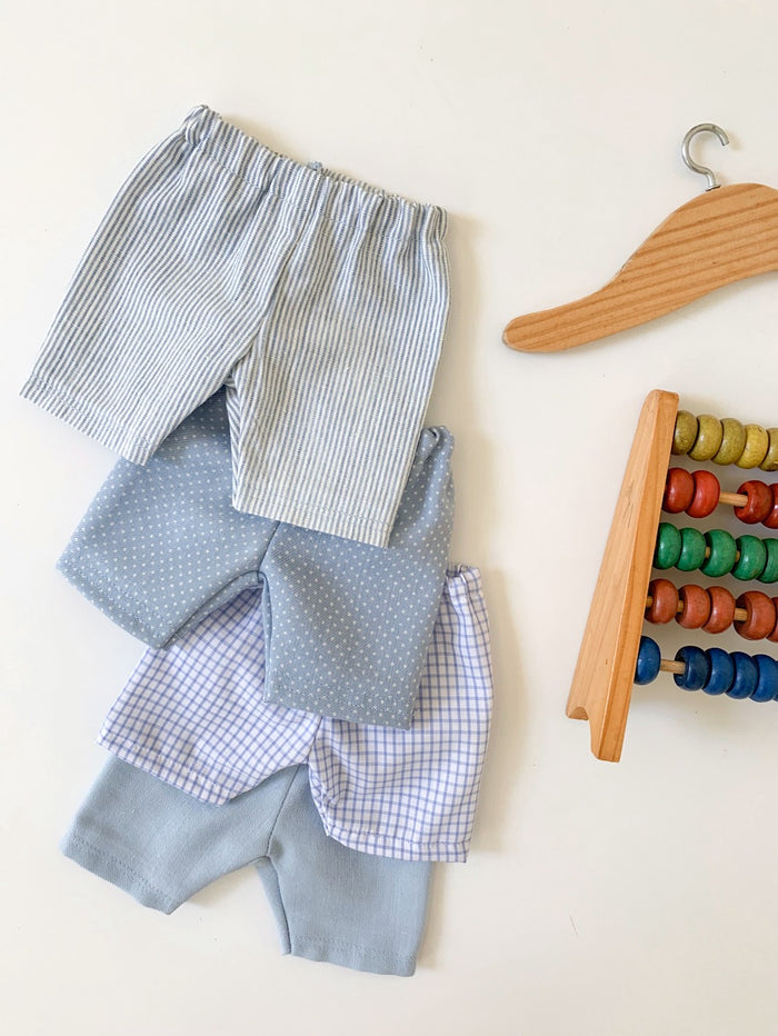 Summer Shorts - Plain Blue, Stripe, Spot & Check (to fit 38cm) - Pretty Snippets Kids Toys & Accessories