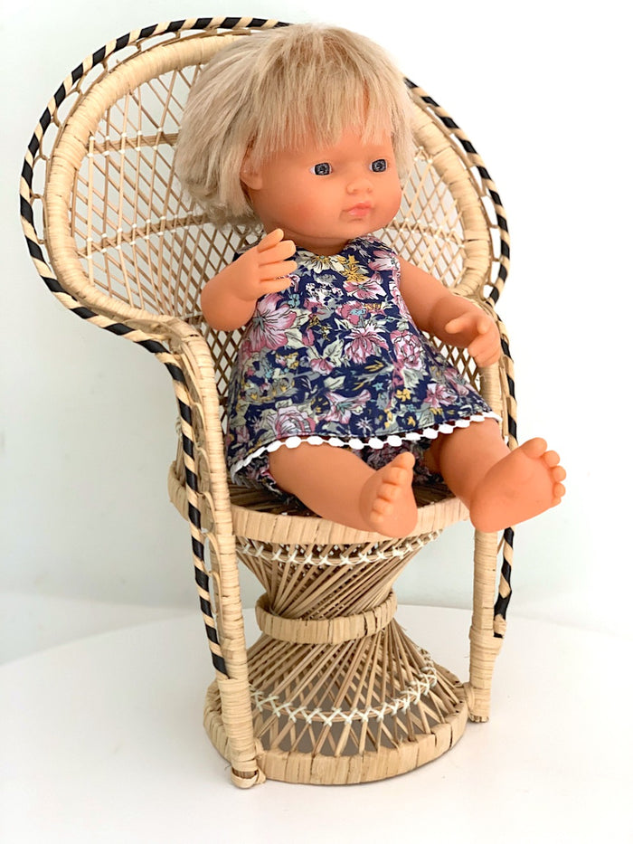 Peacock Doll's Chair/Planter - Vintage