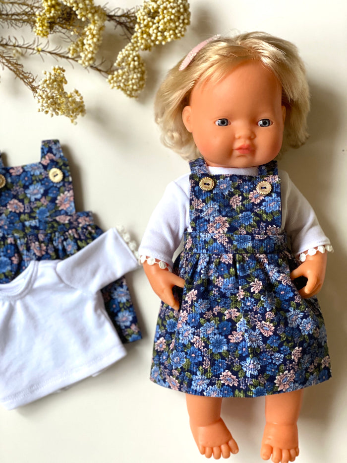 Navy Floral Corduroy Pinafore & White Tee - (to fit 38cm)