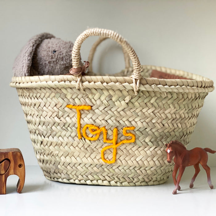 'Toys' Basket (Small) - Saffron Embroidery