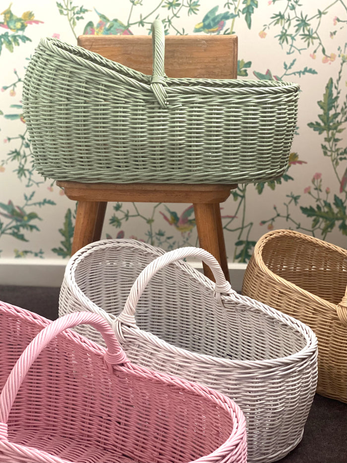 Classic Carry Basket - Natural, White, Sage and Pale Pink