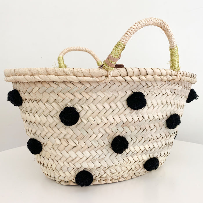 Pom Pom Basket - Black (Small) - Pretty Snippets Kids Toys & Accessories
