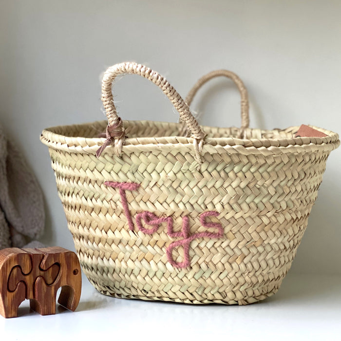 'Toys' Basket (Small) - Blush Embroidery