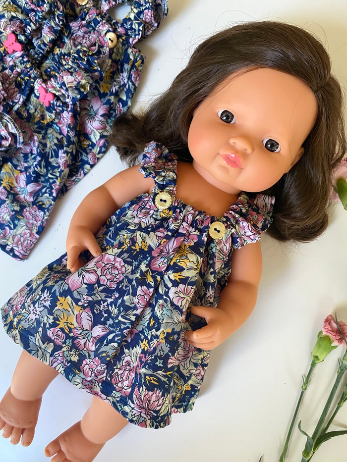 Vintage Navy Floral Dress - (to fit 38cm)