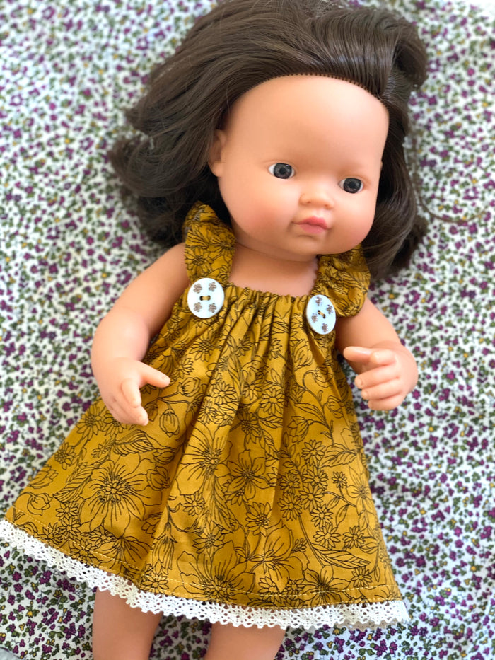 Butterscotch Floral Dress - (to fit 38cm)