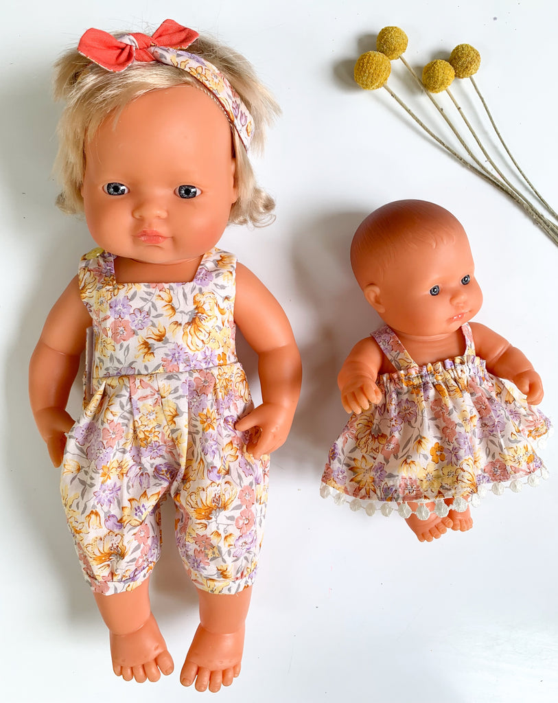 Golden Floral Playsuit & Headband Set - (to fit 38cm) - Pretty Snippets Kids Toys & Accessories